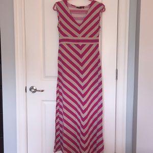 Apt 9 Maxi Dress - Pink & Tan - Size Small
